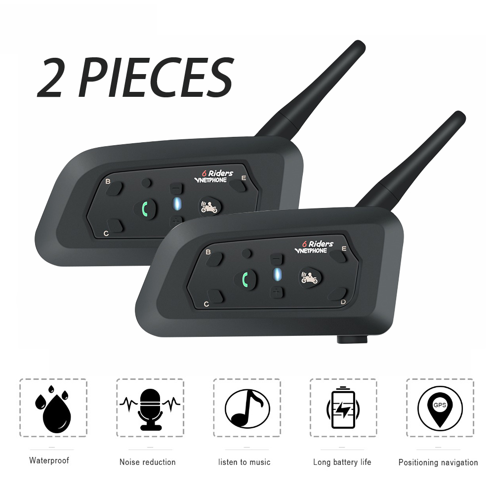 2 pcs V6 Multi BT Intercom 6 Riders 1200M Motorcycle Bluetooth Helmet Wireless Intercomunicador Moto Interpones Headset