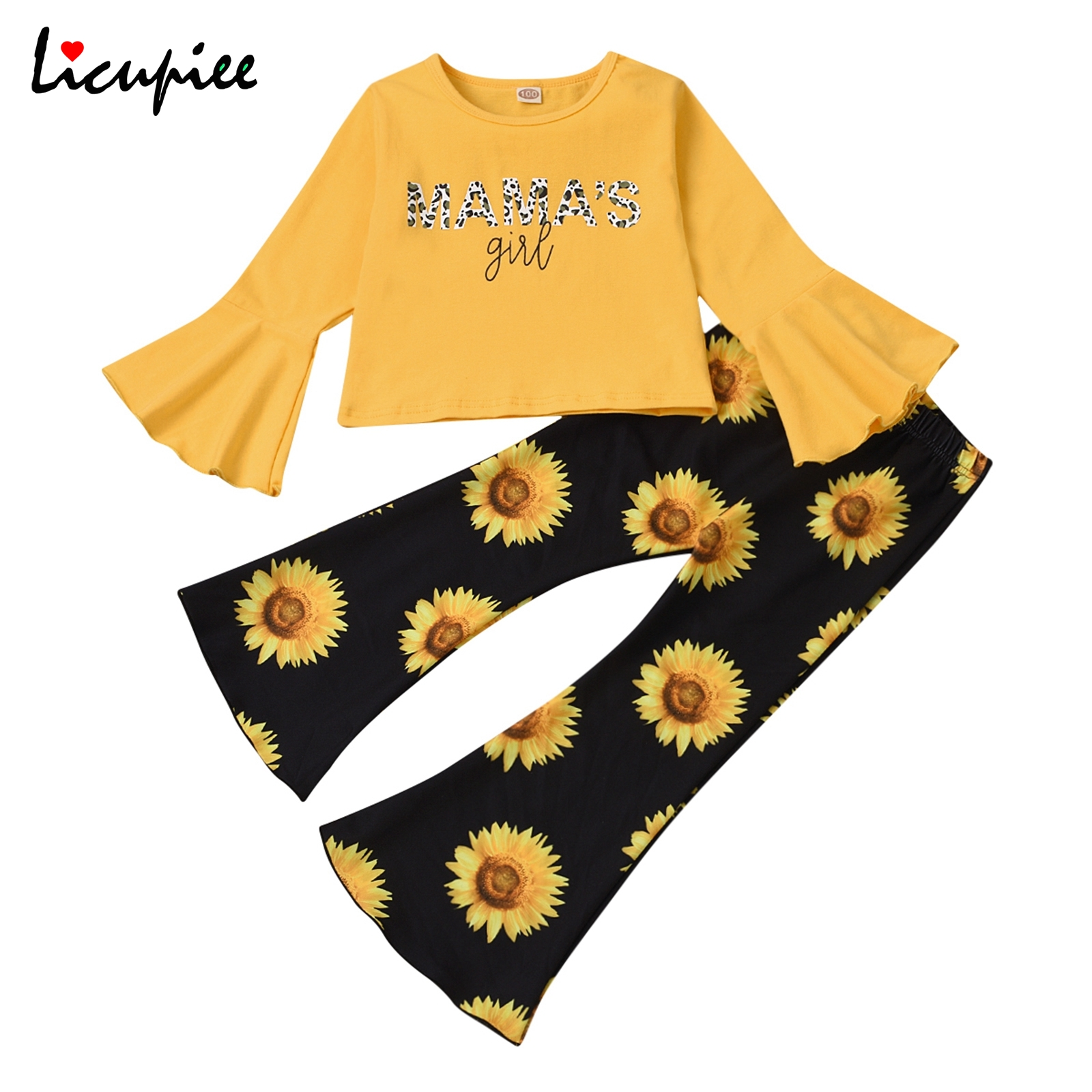 2-6 Years Girlu2019s Sunflower Printed 2pcs Clothes Set, Long Flared Sleeve T-shirt Tops with Printed Bell-bottoms