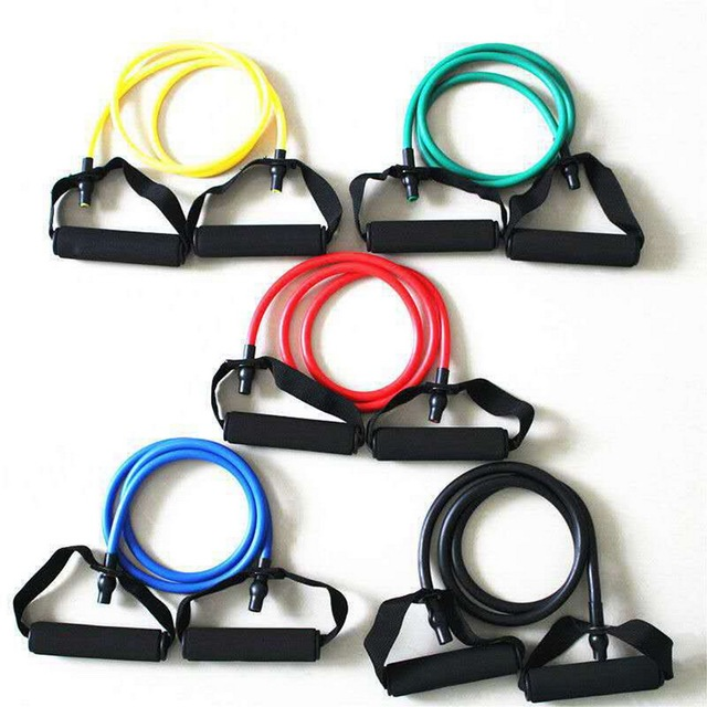 5 Levels  Elastic Band With Handles Yoga Pull Rope Elastic Gym Fitness Exercise Tube Band For Home Workouts Strength Training 2