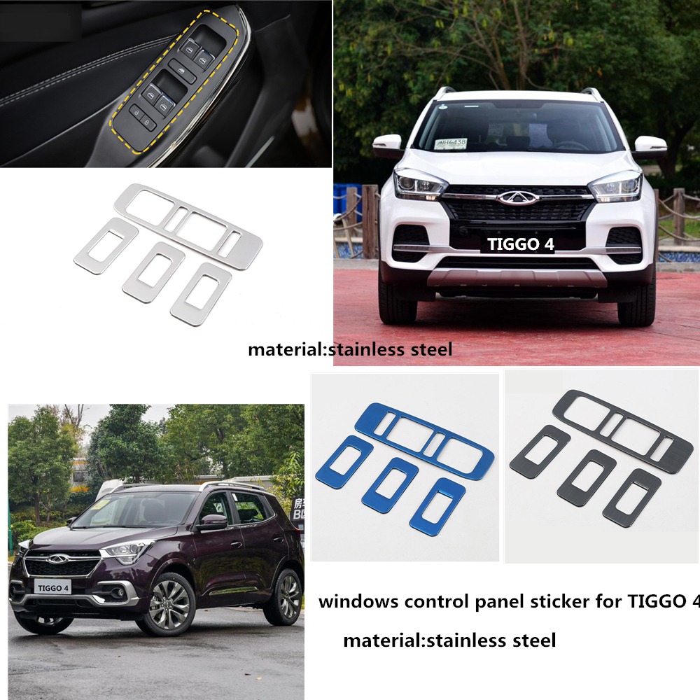 Stainless steel car Interior trim sticker,window button trim for Chery Tiggo4 2018-2020,windows control panel for Tiggo 4(China)