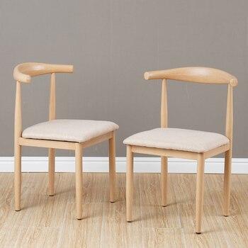 Iron art tea shop horn chair Nordic luxury modern minimalist home backrest dining chair