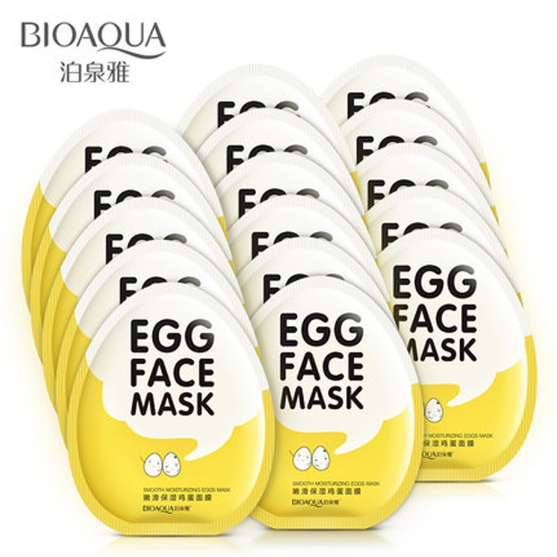 BIOAQUA Egg Facial Mask Smooth Moisturizing Face Mask Oil Control Shrink Pores Whitening Anti Aging Brighten Mask Skin Care