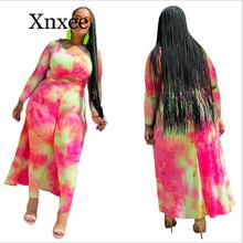 Plus size XL-5XL Autumn Tie Dye Galaxy Print Women's Set High Low Maxi Tee Top Pencil Pants suit two piece set tracksuit outfits