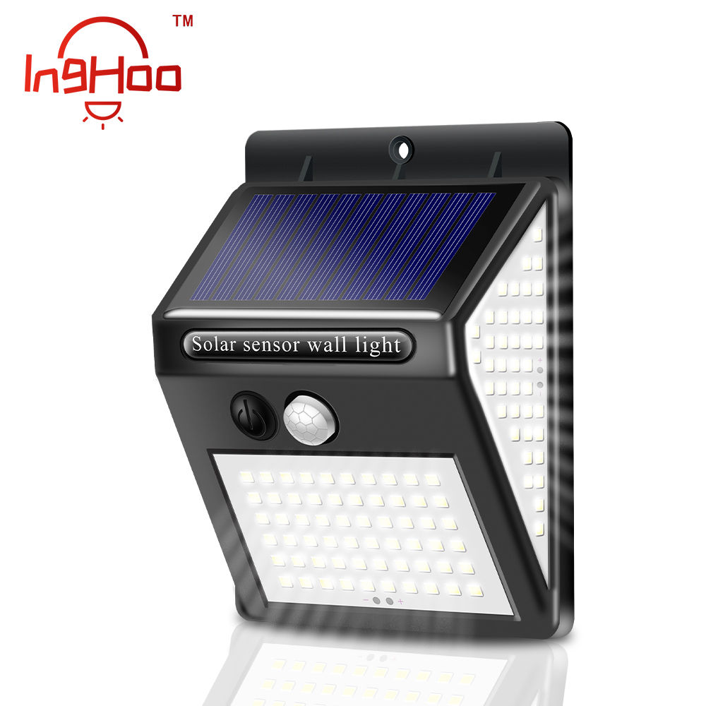 IngHoo Outdoor wall lamp Solar charging Waterproof Human motion sensing 3 working modes Wireless 140LED Solar light Night light