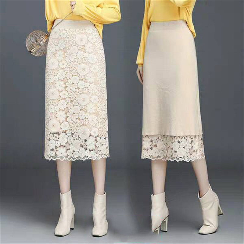 Office Ladies Elastic Waist Pencil Skirt Women Casual Warm Winter Long Knit Skirt Female Fashion Lace Skirt Vintage Plus Size