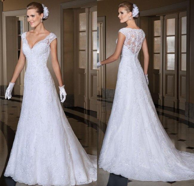 Vestido De Noiva See Through Back Lace Wedding Dress V-Neck Sexy Robe De Mariage 2016 Vestido De Casamento