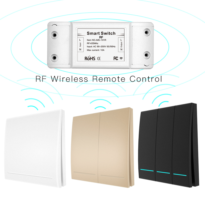 RF433 Wireless Smart Switch Remote Control Receiver Push Button Controller Wall Panel Transmitter 1-3 Way Multi-Control Kit