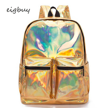 Shiny Gold Bag Travel Bags Mochila Laser Backpack Women Silver Hologram Bag For Teenage Girls Leather Holographic School Bag недорого