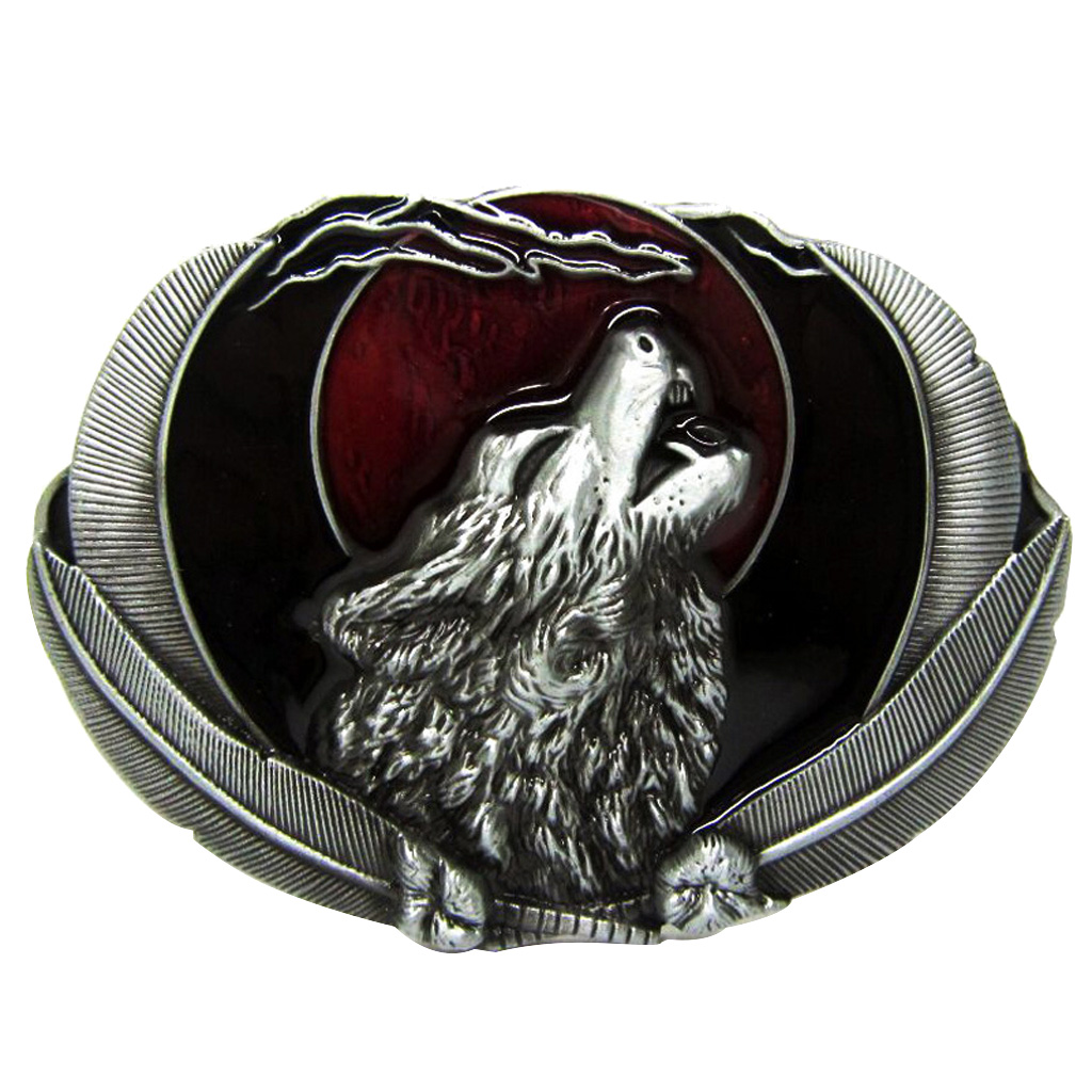 Novelty Vintage Western Belt Buckle Howling Animal Moon Rodeo Indian Classic Men's Accessories