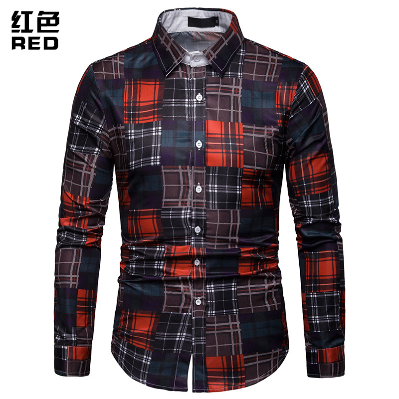 Shirt Mens Plaid Striped Color Long Sleeve Men Autumn
