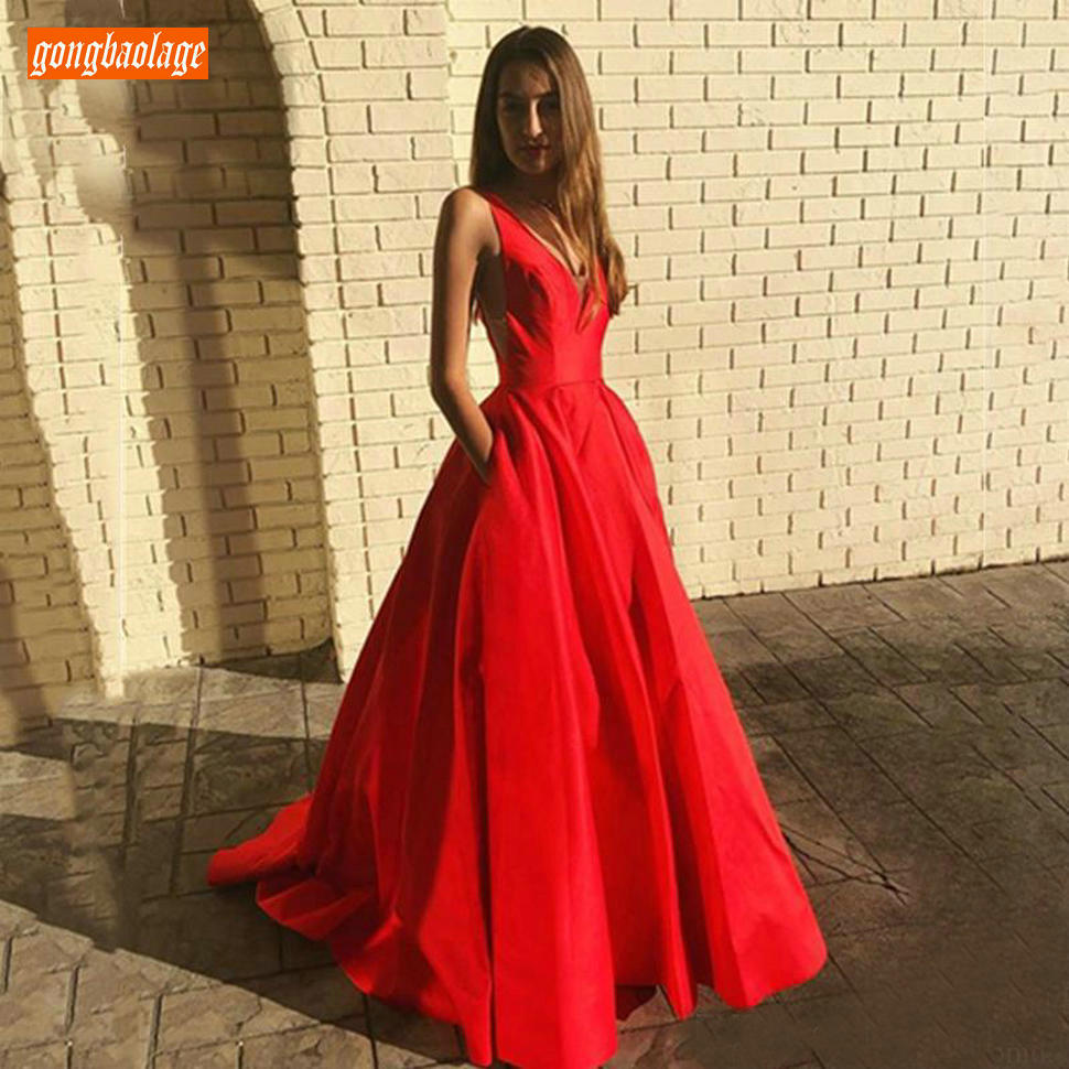 Trendy Red V Neck   Evening   Gowns Long Backless Satin Pockets A Line Formal   Dress   Sleeveless Slim fit Women Party   Evening     Dresses