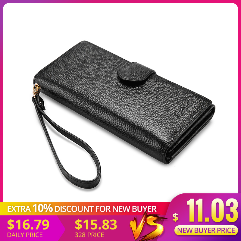 REALER Genuine Leather Women Wallet Long Purse Female Purse With Wristlet Strap Phone Pocket Zipper Coin Pocket For Credit Card