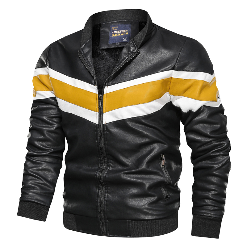 2019 New Design Motorcycle Bomber Leather Jacket Men Stand Collar Autumn Slim Fit Male Leather Jacket Coats PU Simple Fashion PU