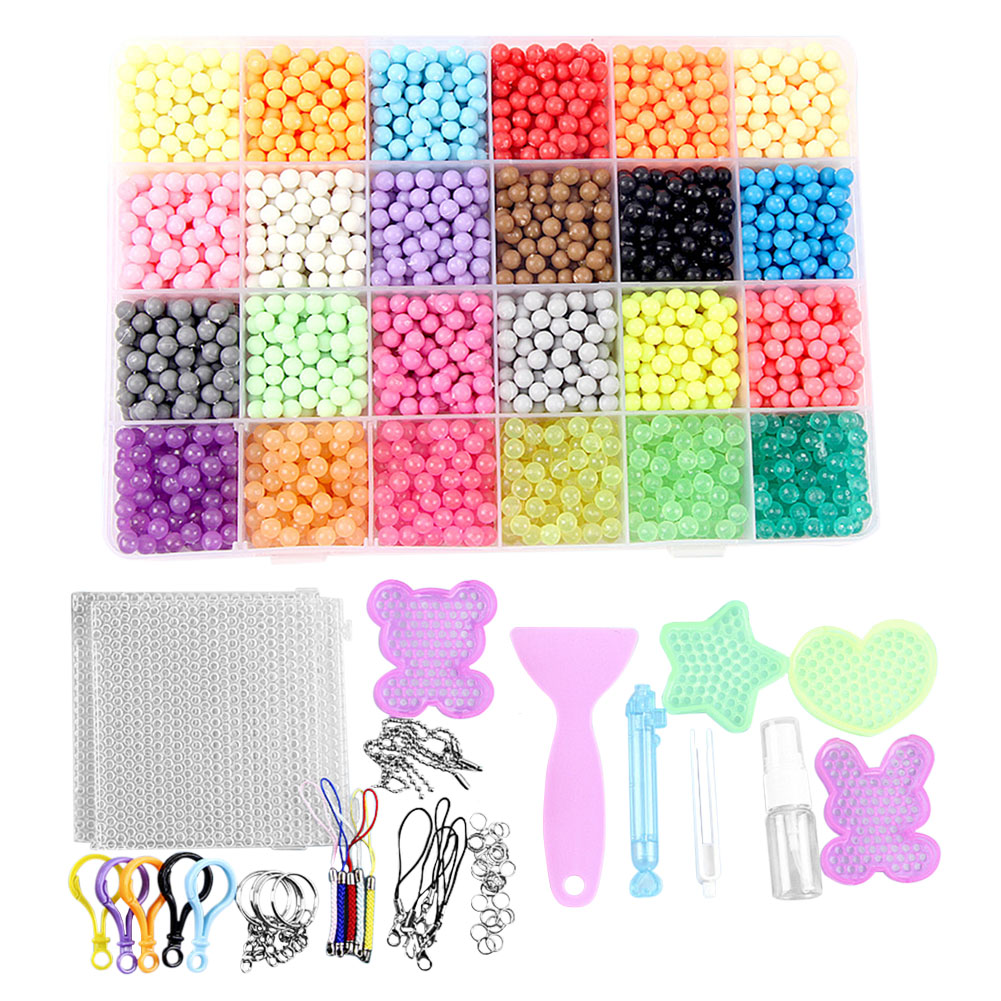 FunBeads 24 Colors 3000 Refill Beads for Aqua Pearl and Beados Art Crafts Toys for Children Classic Beads and Jewelry(China)