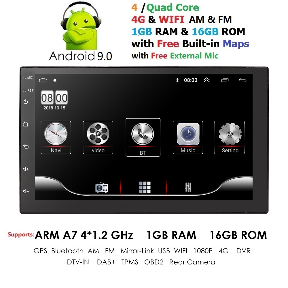 EU Stock 4G QuadCore Pure Android9.0 Car Multimedia Player Car PC Tablet Double 2din7''GPS Navigation Car Stereo Radio Bluetooth