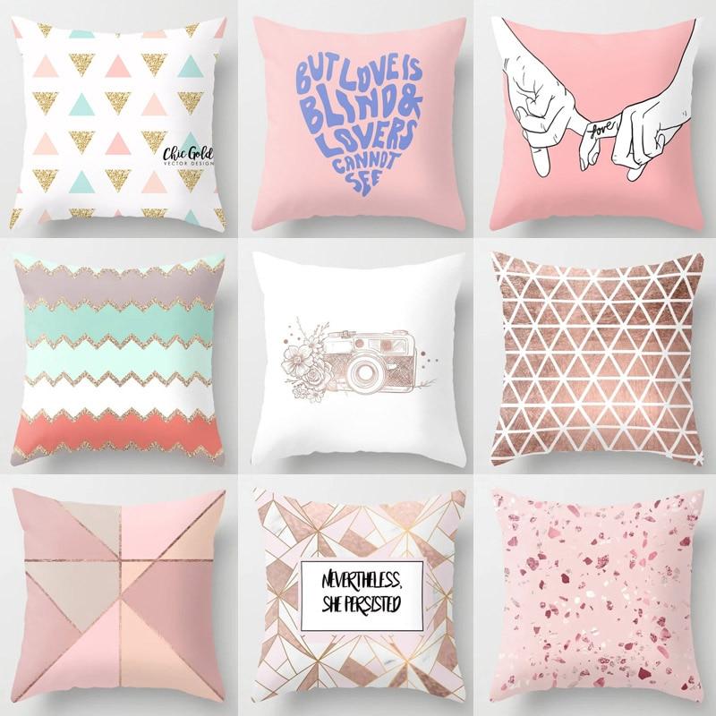 He8539f75b57144f7b07a264274c14368m New 1PC Popular Cushion Case Geometric Tropic Pineapple Nordic Sofa Pink Pillow Decorative