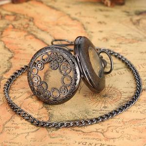 Image 5 - הגעה חדשה מעולה הילוך גלגל חלול שעון כיס מכאני Fob שעונים יד רוח מכירה לוהטת גברים נשים מתנה עם שרשרת שעון