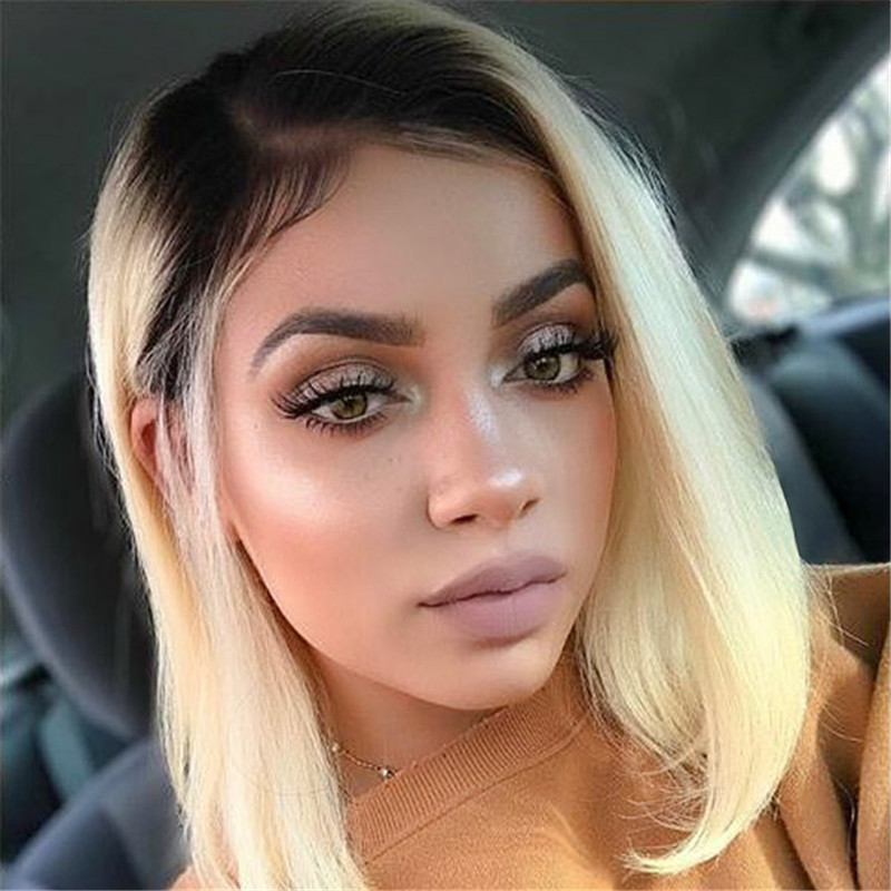 Brazilian 13x4 Lace Front Human Hair Wigs 1B 613 Blonde Pre Plucked Straight Lace Wigs 150% Density Remy Hair Wig KEMY