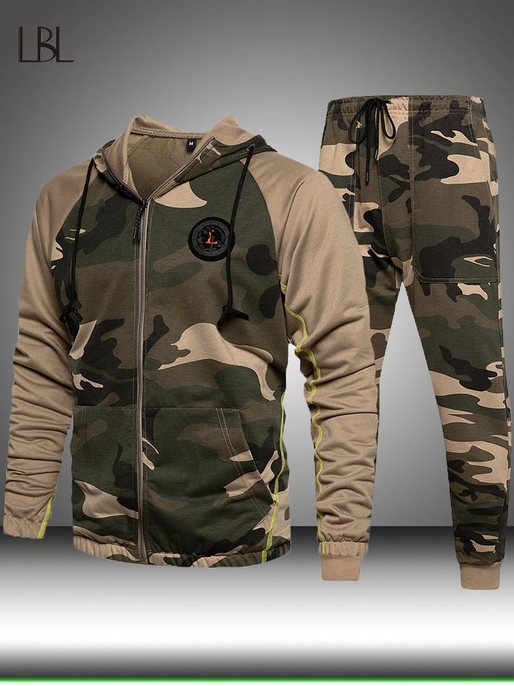 Tracksuit Men Hoodie Pants Sweatshirt Joggers Sportwear Winter-Sets Male Camouflage Pullover