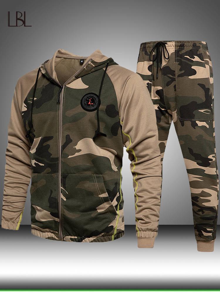 Sportwear Suit Hoodie Pants Sweatshirt Joggers Winter-Sets Male Camouflage Pullover