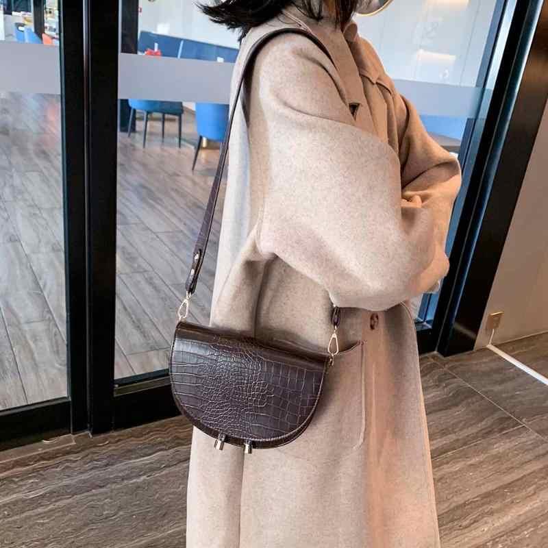 Retro Crossbody Tas Tangan Wanita Lingkaran Warna Solid PU Kulit Bahu Messenger Tas Kecil Tas Tas Bolsas Feminina Mujer