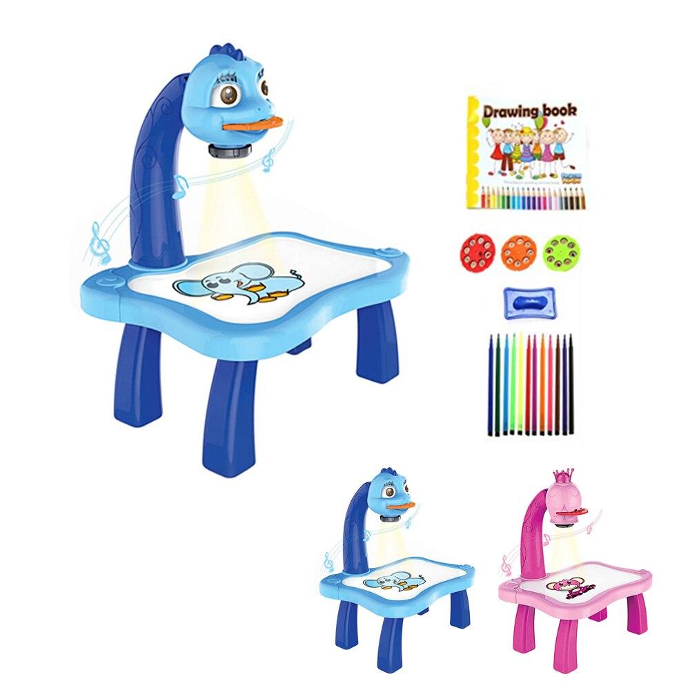 Детский развивающий Музыкальный проектор для раннего обучения, Проекционный стол для рисования, Настольная игрушка, инструменты для рисов...