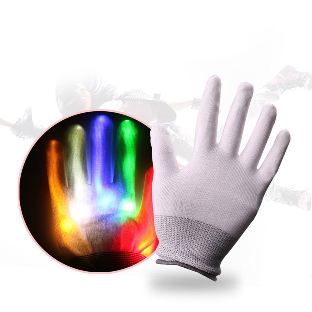 1 Pair Fiber Optic Flashing Gloves Colorful Luminous LED Gloves For Dance Parties KTV Kids Halloween Christmas Glowing Toy Props