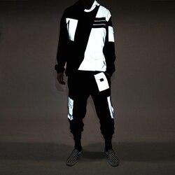 Reflecterende Hoody Trainingspak Mannen Hip Hop Casual Losse Lange Mouw Mannen Sport Suits Retro Herfst Heren Kleding Sets Straat B60