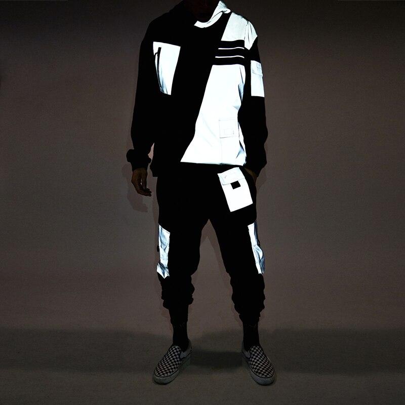Reflective Hoody Tracksuit Men Hip Hop Casual Loose Long Sleeve Men Sports Suits Retro Autumn Mens Clothes Sets Street B60