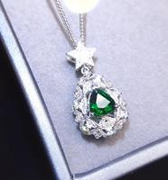 Tsavorite Pendant 1.02ct 18K Gold Jewelry Nature Green Tsavorite Gemstones Pendant Diamond sPendant Gemstone Necklaces for Women