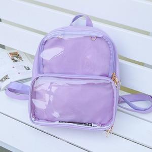 Image 5 - Yaz moda kadınlar sırt çantası şeffaf öğrenci çantaları yüksek kaliteli şeffaf çok yönlü sırt çantaları kadın deri çanta bayan seyahat çantası