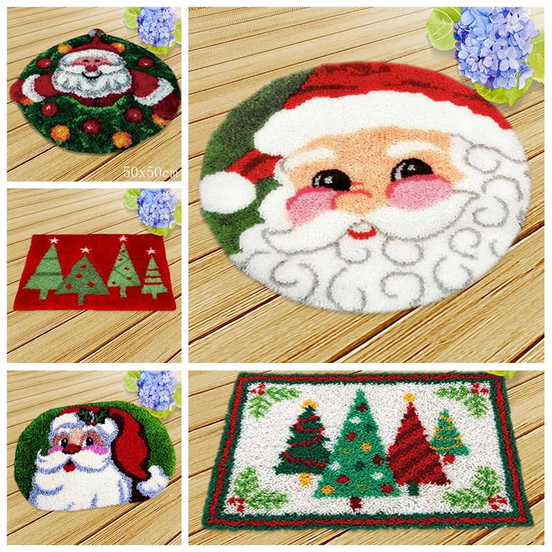 1 Set Creative Floral Latch Hook Kits Santa Claus Embroidery DIY Handmade Craft