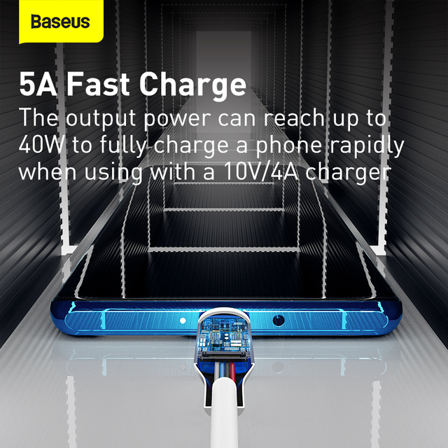 Baseus Fast Charging USB Type C Cable 5A USB C Cable Type C cable for Huawei  Data Cord Charger USB Cable C For Samsung S20 S10 3