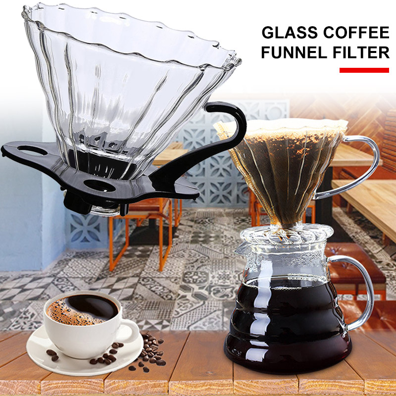 Coffee Dripper Coffee Filter Portable Reusable with Base Glass Home Use Travels Red Wine Coffee Funnel Kitchen Tool Baskets
