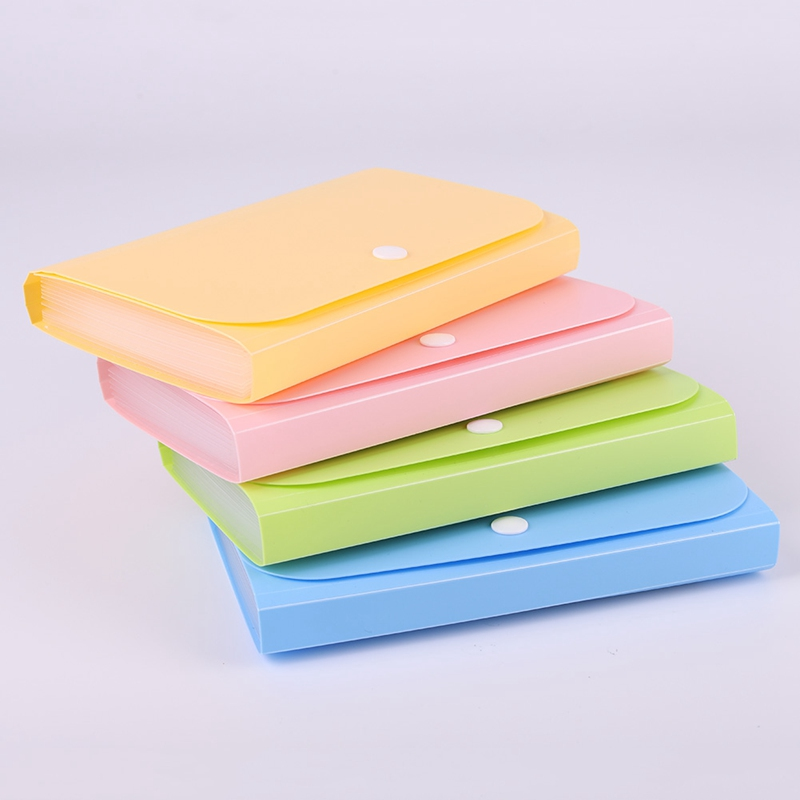 Plastic Candy Color Large Capacity A6 File Folder Small Document Bags Expanding Wallet Bill Folders For Documents