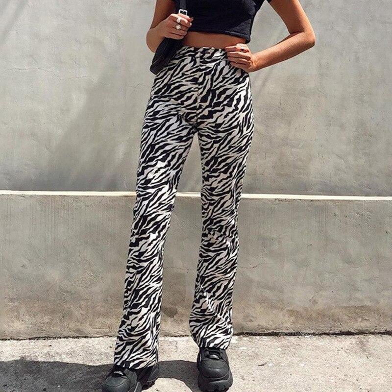 Zebra Animal Print Elegant Pants Capris Harajuku High Waist Trousers Ladies Casual Wide Leg Pants Women Streetwear 2020