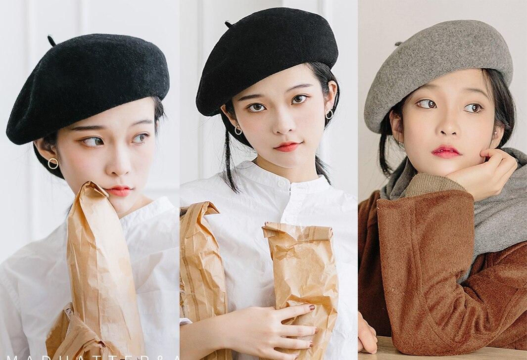 Женский берет для девушек, французский артист, теплая шерстяная зимняя шапка, шапка, винтажный однотонный берет, одноцветная элегантная женская зимняя шапка s