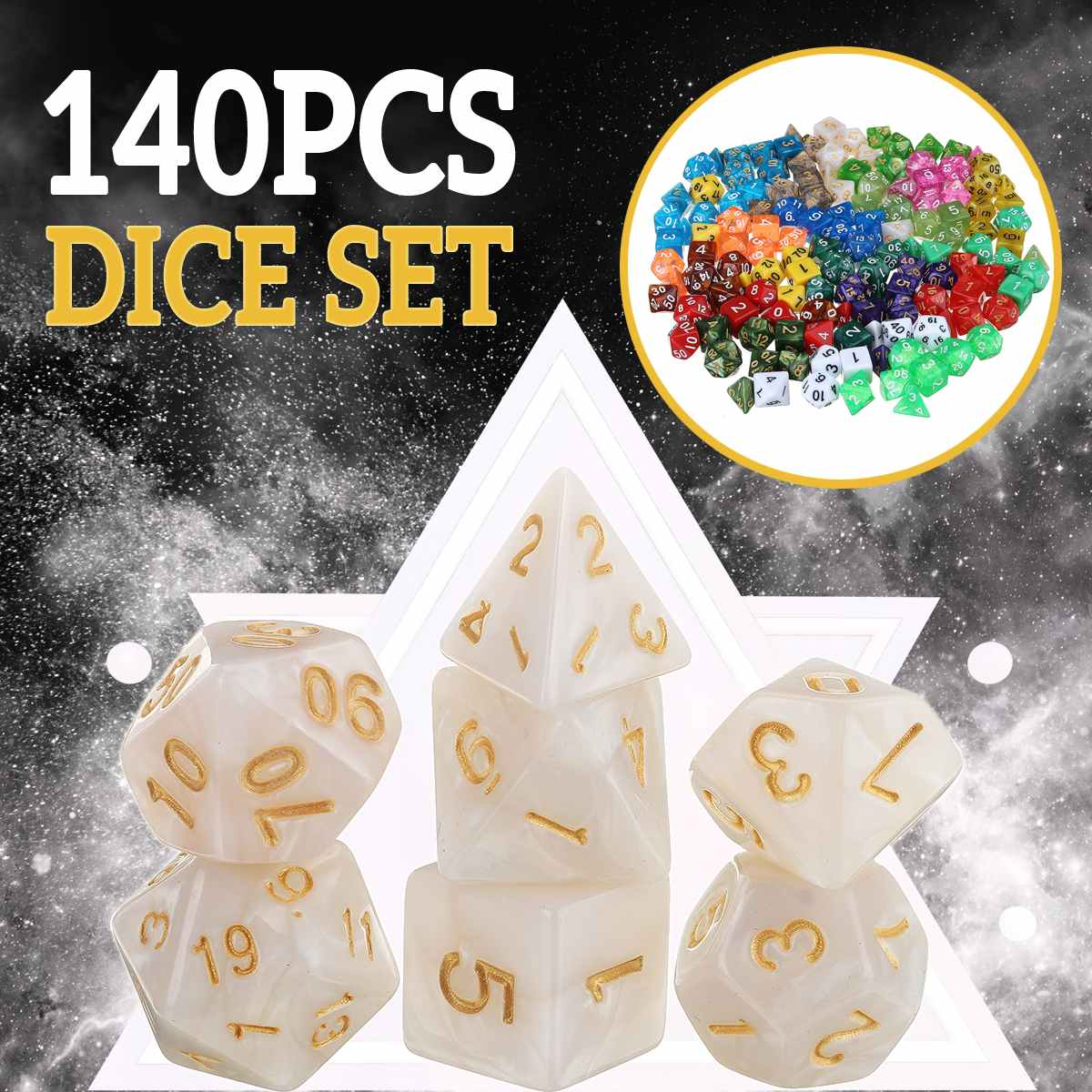 140pcs Metal Polyhedral Glitter Dice Mult-sided RPG Dice Include Dice Pouch D4 D6 D8 D10 D12 D20 Dungeons And Dragons Table Game