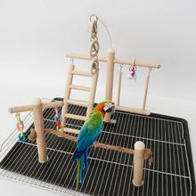 Bird Cage Wooden Bird Parrot Perches Cage Toys Hamster Play Gym Stand with Wood Swing Rattan Ball Toy pet Bird Supplies(China)