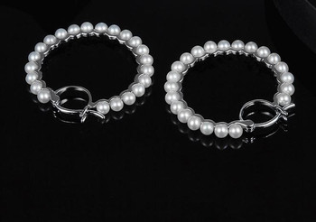 925 Sterling silver elegant geometric Freshwater Pearl Hoop Earrings Classic Exaggerated Big Circle Dangle Earrings jewlery