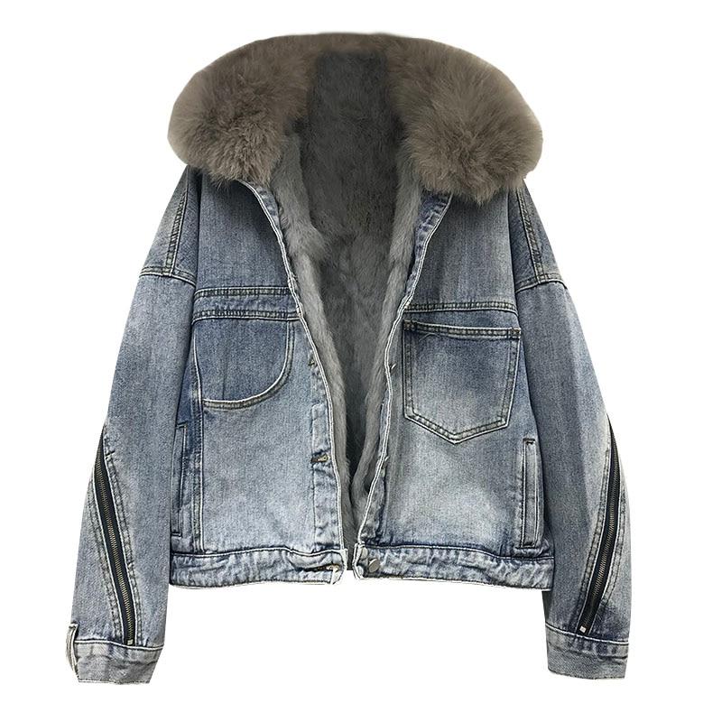 Autumn Winter Denim Jacket Women Korean Real Rabbit Hair Plus velvet Jeans Jacket Loose Thick Fox fur Collar Ladies Jackets Tide