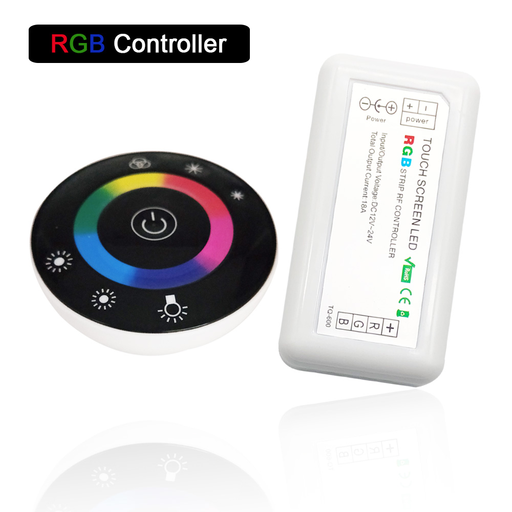DC12V 24V Round Touch Panel RGB Controller Wireless LED Dimmer Switch Controller Dimmable Controller for LED RGB Strips lamp image