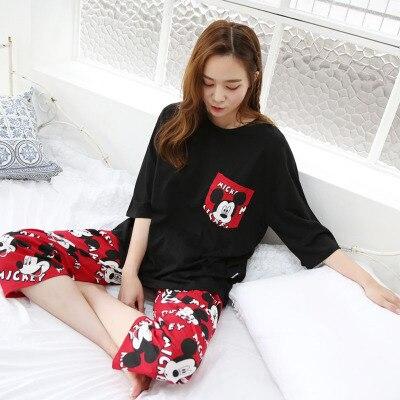 Summer Korean-style Cartoon Mickey WOMEN'S Pajamas Capri Pants Half Sleeve Set Loose-Fit Plus-sized Pajamas-Outer Wear