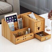 Wooden Desk Cosmetic Organizer Tissue Organizer Storage Box With Drawer For Bathroom 5 Slots For Lipstick Remote Control