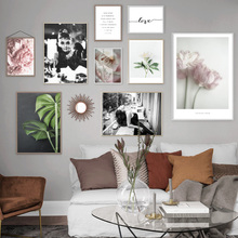 Pink Rose Peony Lotus Leaf Fashion Girl Wall Art Canvas Painting Nordic Posters And Prints Plant Pictures For Living Room