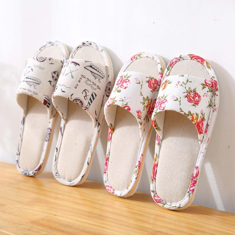 Home Slippers Women Floral Cartoon Flower Home Shoes Non-slip Soft Hemp Slippers Indoor Bedroom Loves Couple Floor Shoes