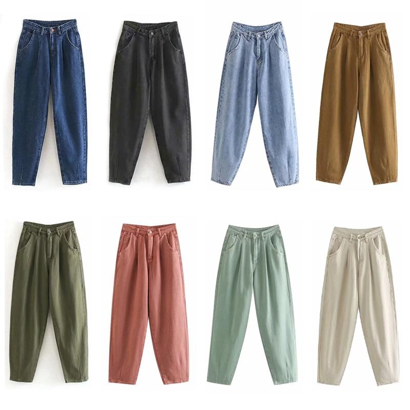 Aachoae Women Streetwear Pleated Mom Jeans High Waist Loose Slouchy Jeans Pockets Boyfriend Pants Casual Ladies Denim Trousers 6