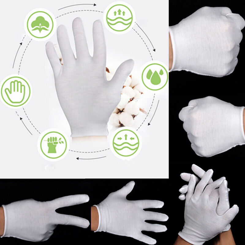 2020 HOT 6Pairs White Inspection White 100% Cotton Ceremonial Gloves For Male Female Serving Jewelry Lightweight S M L XL