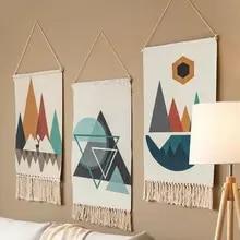 Boho algodão linho borla tapeçaria pendurado pingente imagem casa decoração da parede do hotel para sala de estar, jardim