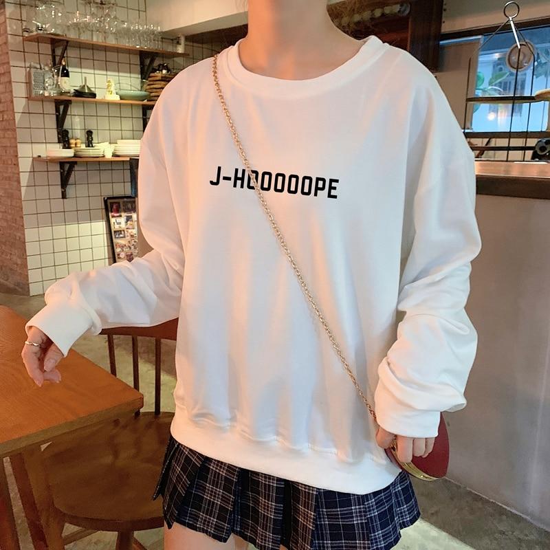 J-HOOOOOPE J-HOPE Tumblr Hoodies Women Autumn Spring Casual Letters Printed Sweatshirt Cotton K-pop Harajuku Korean Clothes
